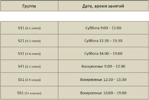 Расписание ЦДК